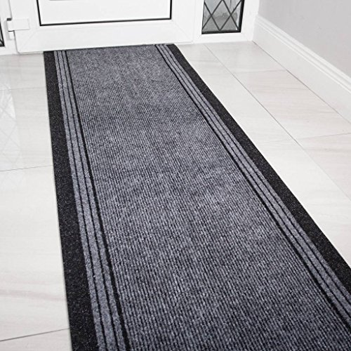 The Rug House Grey Rubber Backed Very Long Hallway Hall Runner Narrow Rugs Custom Length - Sold and Priced Per Foot -