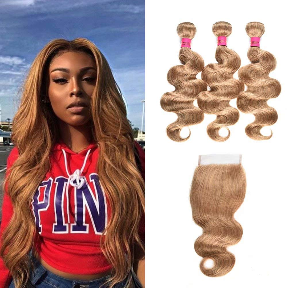 WOME Brazilian Color 27 Bundles with Closure Honey Blonde Body Wave Bundles with Closure 3 Bundles with 4x4 Free Part Lace Closure Hair Weaves Extensions (20 22 24+20 Closure) by wome
