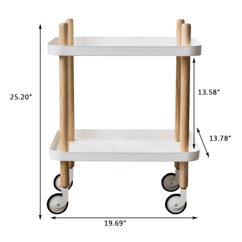 Amazon.com: Mesa auxiliar de sofá con ruedas, carrito de 2 ...
