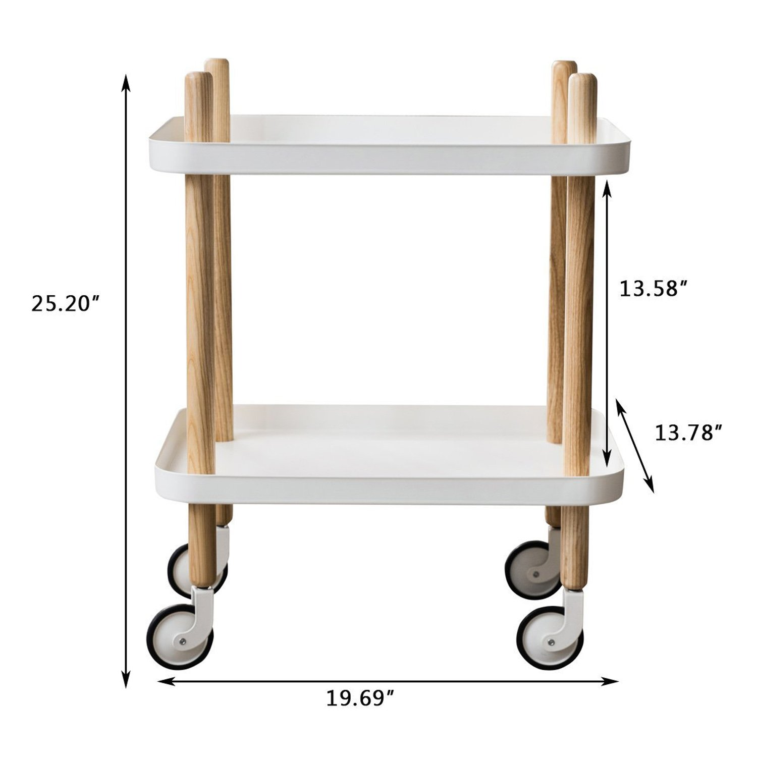 Sofa Side Table with wheels, Metal Tray End Table Living Room Bedroom, 2-Tier Nightstand Utility Rolling Cart, White by Clothink (Image #2)