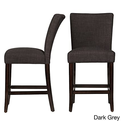 HOME Parson Classic Linen Counter Height Chairs Bar Stools Dark Gray Linen  (Set Of 2