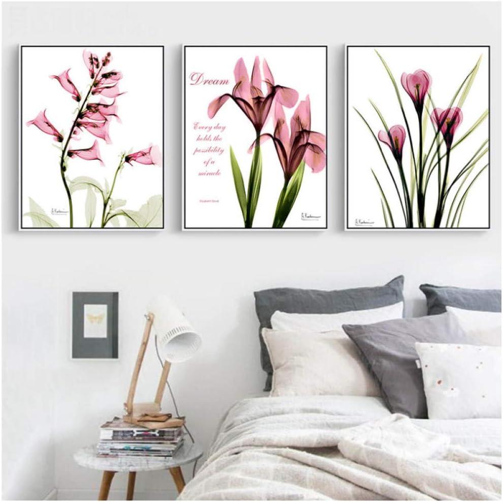 Flor Lienzo Pintura Pintura al óleo Rosa Floral Foto Decoración del hogar Tallo largo Hoja Impresiones Oficina Pared Foto para habitación-50x70cmx3 piezas Sin marco