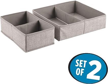 InterDesign Aldo Organizador de cajones, caja de almacenaje de polipropileno, juego de 2 cajas clasificadoras, beige: Amazon.es: Hogar