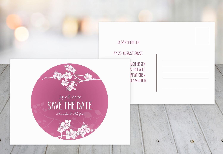 Save-the-Date Cherry Blossom, 80 Karten, Lilamatt B07B6M1P26 | Eleganter Stil  | Am wirtschaftlichsten  | Deutsche Outlets