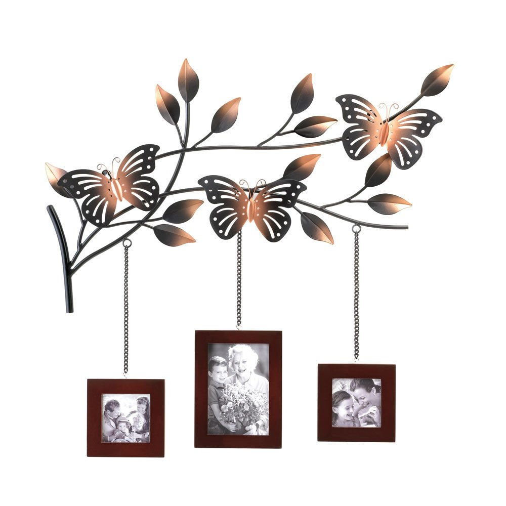 BUTTERFLY WALL DECOR WITH HANGING PICTURE FRAMES PHOTO DISPLAY NEW