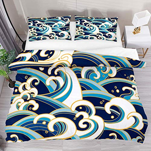 Duvet Cover Set Retro Ocean Wave Comforter Bedding