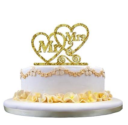 Amazon Singleluci Wedding Cake Topper Mr Heart Mrs Cake