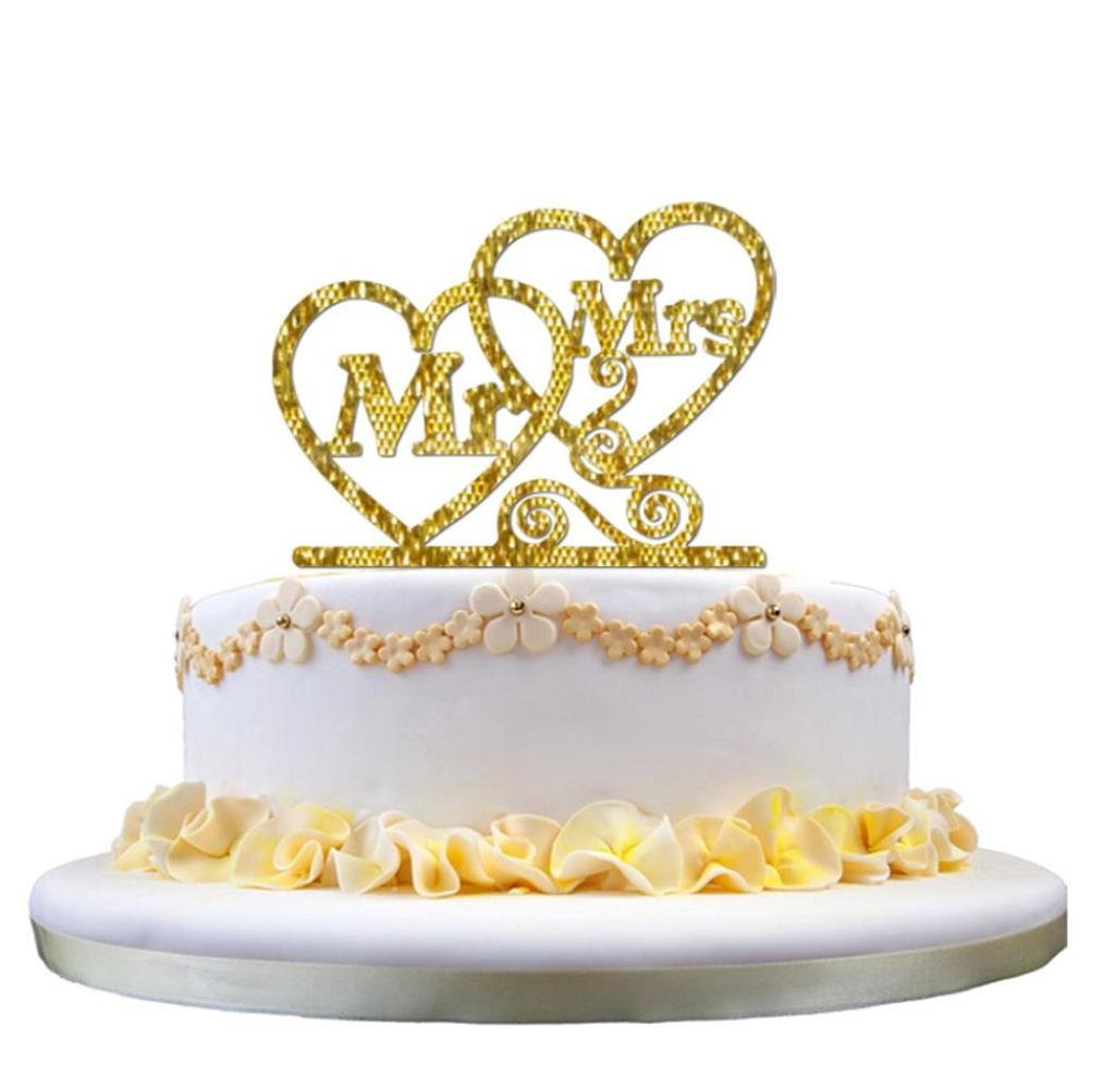 Singleluci Wedding Cake Topper Mr Heart Mrs Cake Decoration Gold