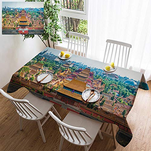 simple color cotton linen tablecloth,washable, Beijing Forbidden City pagoda rooftops iconic historic landmark panorama China decorating restaurant - kitchen school coffee shop rectangular 72×54in