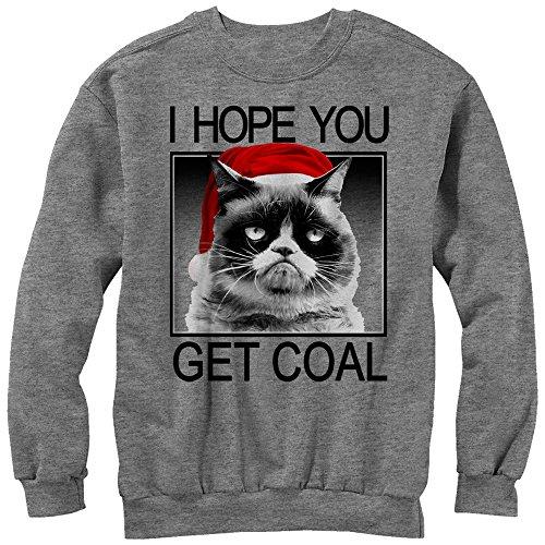 Grumpy Cat Sweater (Grumpy Cat Men's Christmas Get Coal Athletic Heather)