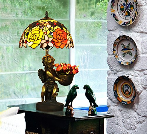 Tiffany Angels Lamp Table (Makenier Vintage Tiffany Style Stained Glass Rose Flower Table Lamp with Angel Base, 12 Inches Lampshade)