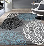 Contemporary Modern Floral Indoor Soft Area Rug 7'10'' x 10'2'' Gray