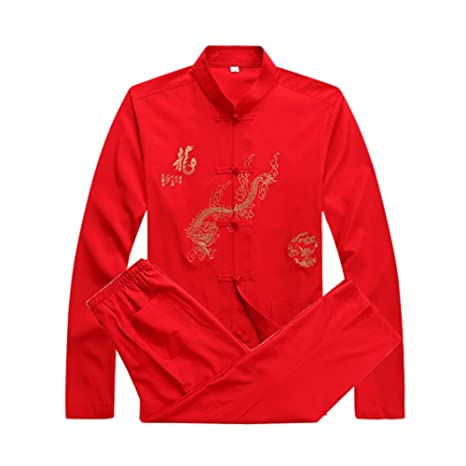 62d424e16 Mens Martial Arts Set Kung Fu Uniform Tang Suit With Dragon Pattern (Red, S