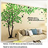 3D Wall Decals Big Tree Wall Stickers Acrylic DIY TV Setting Wall TV Sofa backdrop for Wall Decor Home Decor-59 inch (Medium 2.9x1.5m, Green)