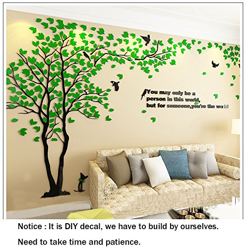 Tree & Birds 3D Wall Stickers Tree Wall Murals Acrylic DIY 3D wall Decals,Tv Wall Background Sofa Setting Wall For Home Decor Wall Decor- 79inch tall (Large 3.5×2.0, Green)