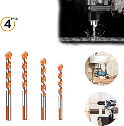 8 mm 6 mm Glass Brick Concrete Plastic 10 mm 12 mm 6 Pieces Hand Drill Bit Set Triangular Handle Multifunctional Drill Bits Punching Drill Bits Set with Carbide Tip for Tile Wood