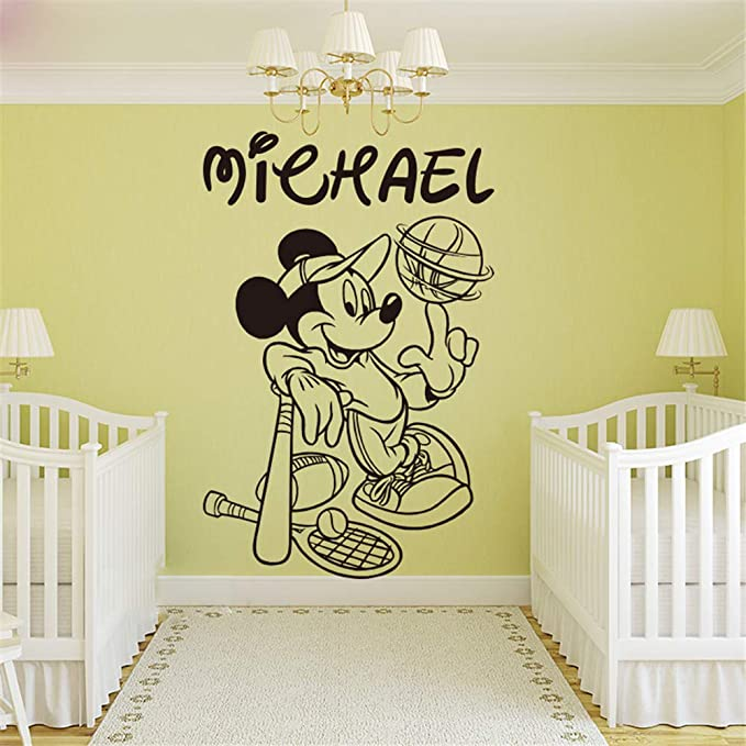 Baby Cot Crib personalised Sticker Mickey font Bedroom Nursery decal