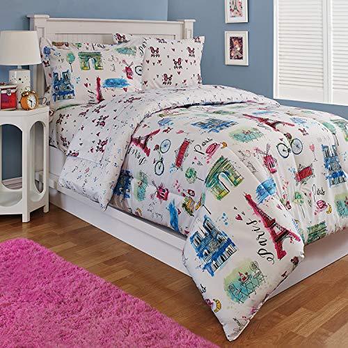 Kidz Mix Paris Eiffel Tower Hearts, Reversible, Twin Comforter Sets, - Notre Comforter Dame Twin