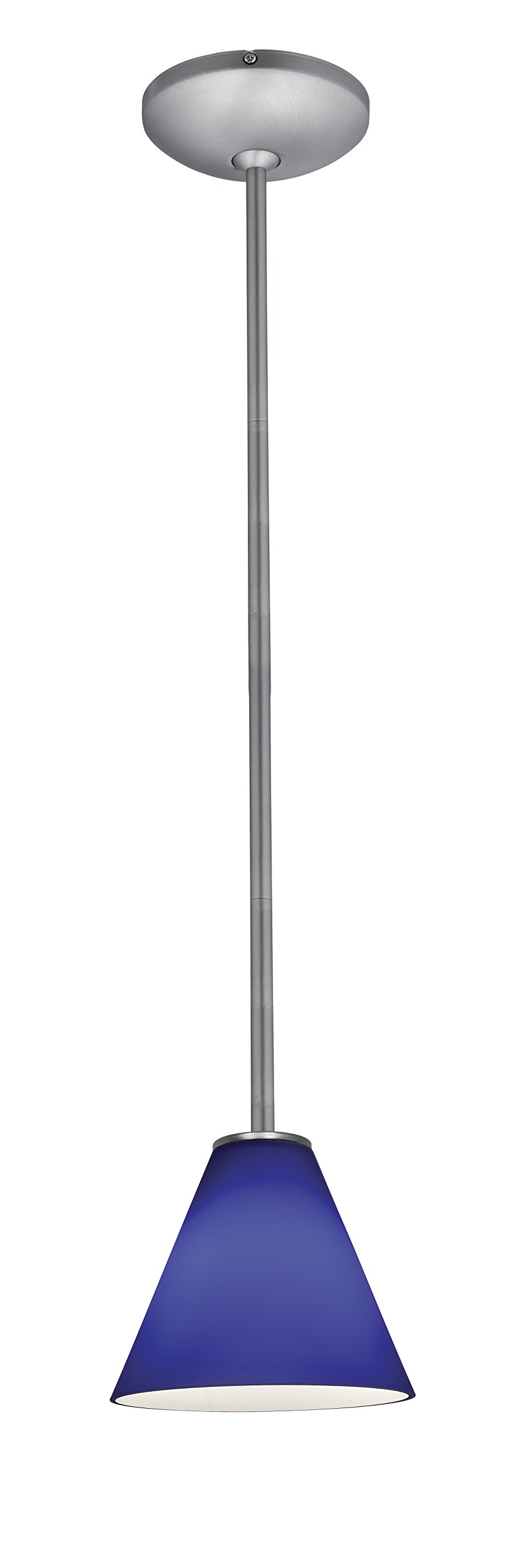 Martini Glass Pendant - Rods - Brushed Steel Finish - Cobalt Glass Shade