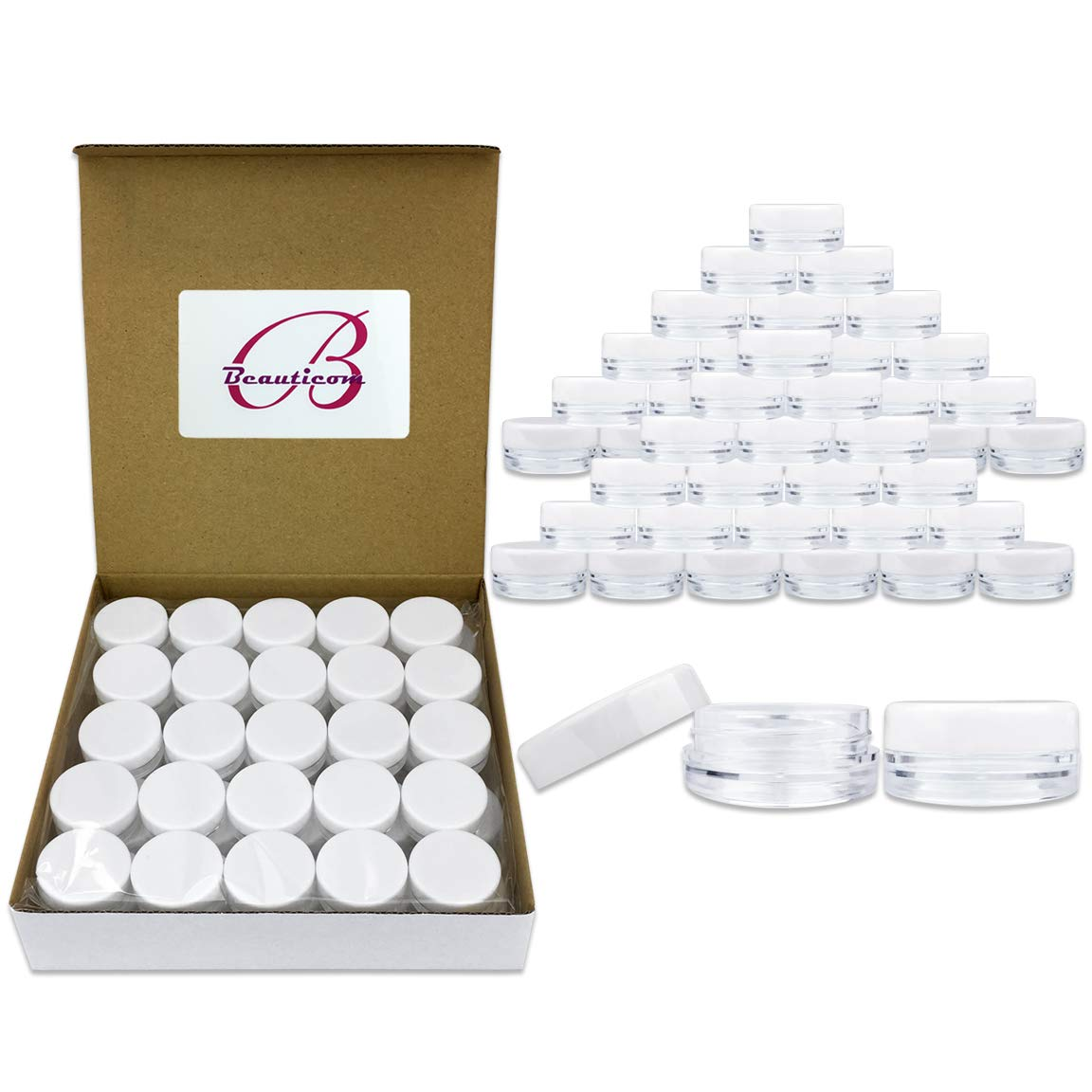 Quantity 100 Pieces Beauticom 3G 3ML Round Clear Jars with White Lids for Lotion, Creams, Toners, Lip Balms, Makeup Samples – BPA Free