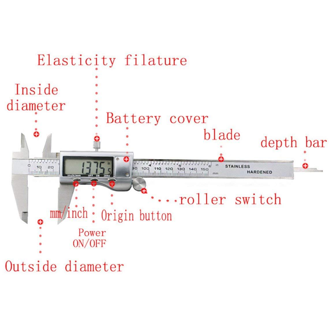 6inch Precisi/ón electr/ónica Digital Vernier Caliper Tool Gobernante Micr/ómetro de Acero Inoxidable Herramientas de medici/ón Gauge Zinniaya 150MM
