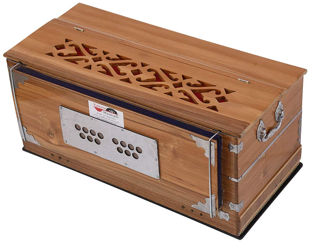 Harmonium Teak Wood By Kaayna Musicals, 11 Stops- 6 Main & 5 Drone, 3½ Octaves, Coupler, Natural Wood Color, Gig Bag, Bass/Male Reed- 440 Hz, Best for Yoga, Bhajan, Kirtan, Shruti, Mantra, etc by Kaayna Musicals (Image #9)