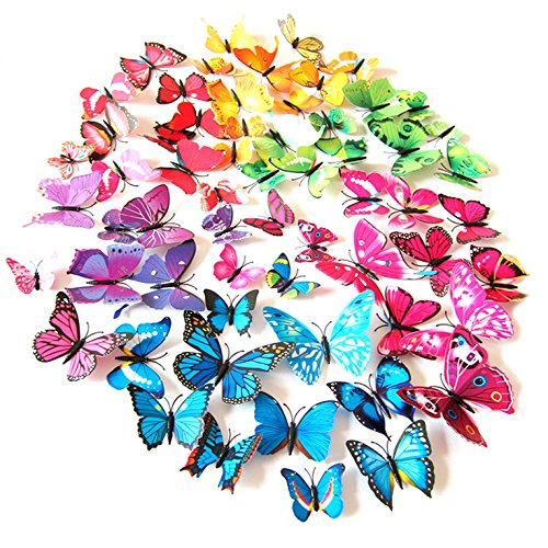 (72 x PCS 3D Colorful Butterfly Wall Stickers DIY Art Decor Crafts for Nursery Classroom Offices Kids Girl Boy Baby Bedroom Bathroom Living Room Magnets and Glue Sticker Set)