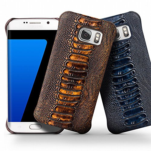 Galaxy S7 Case, QIALINO[Slim Armor] Genuine Leather Back Cover Bumper, Luxury Fashion Phone Protector for Samsung Galaxy S7, - Case Genuine Leather Armor