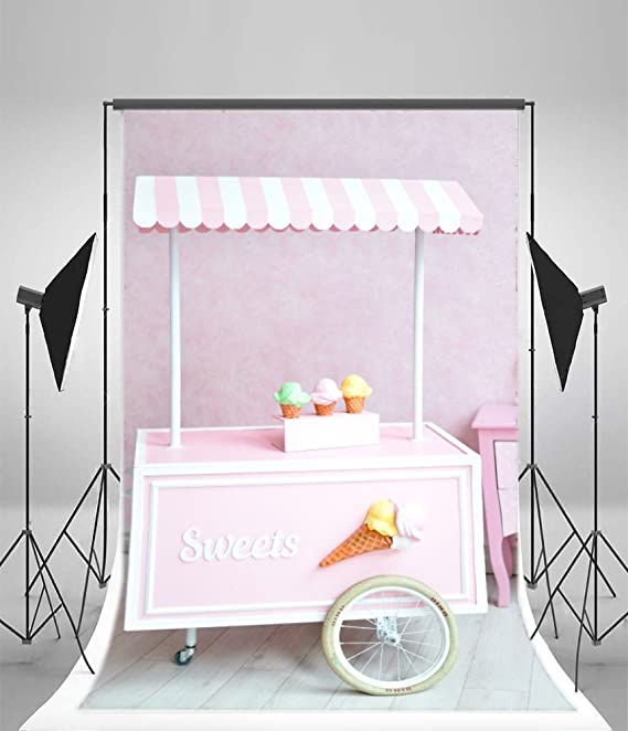 Amazon.com : OFILA Sweet Ice Cream Cart Backdrop 3x5ft Girls Birthday Portraits Wallpaper Decoration Baby Shower Party Shoots Family Photo Newborn Baby ...