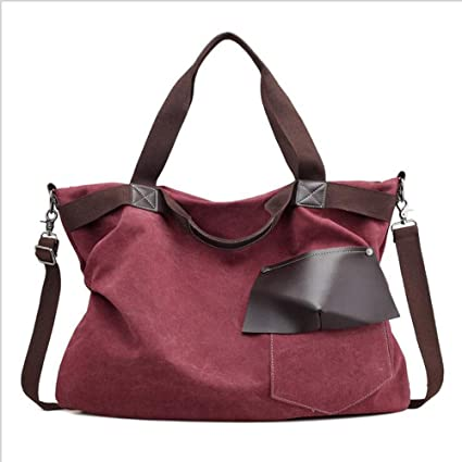 3f3e35969fe6 Amazon.com  Women s Handbags Shoulder Bags Canvas Hobo Purse Crossbody Bag  Large Casual Travel Bag (Purple Coffee)  chengmei store