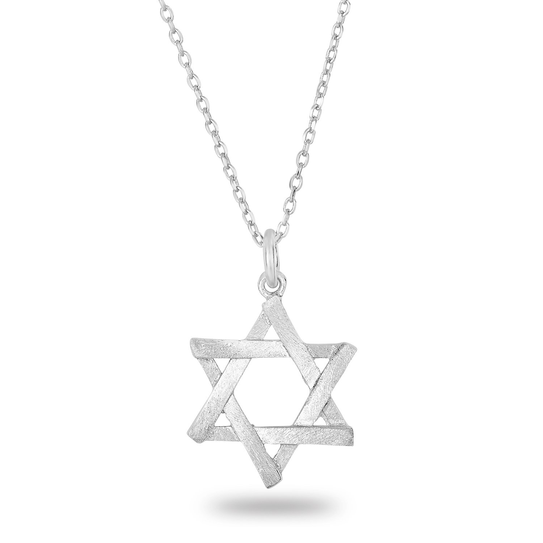 Rhodium Plated Silver Matte Finish Brush Textured 6 Point Jewish Star David Pendant Necklace, 18''