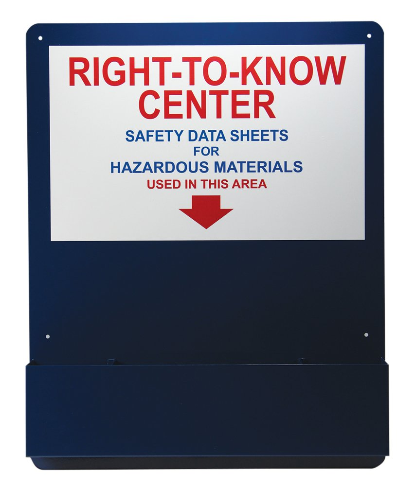 Accuform ZRS708 Right-to-Know Center, 30'' Length x 24'' Width x 0.063'' Thick, Aluminum Pocket Board, Red/Blue/White on Blue