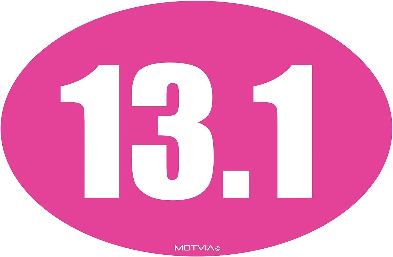 Solid Pink Motvia 13.1 Half Marathon Oval Car Magnet