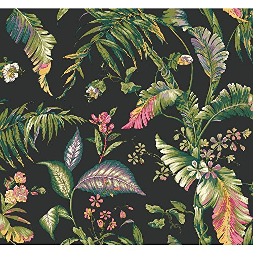 York Wallcoverings Tropics Fiji Garden Removable Wallpaper, Black/Teal/Aqua/Lavender/Yellow/Yellow/Green