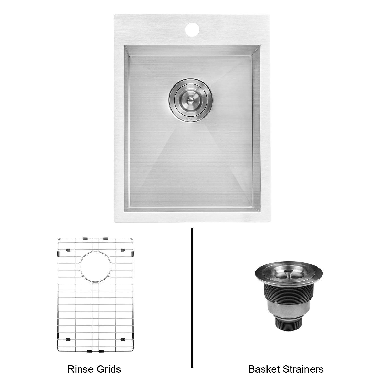 Ruvati 15 x 20 inch Drop-in Topmount Bar Prep Sink 16 Gauge Stainless Steel Single Bowl - RVH8110 by Ruvati