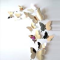 ufengke® 12 Pezzi 3D Farfalle Adesivi Murali Fashion Design DIY Farfalla Arte Adesivi da Parete Artigianato Decorazione Domestica, Effetto Specchio