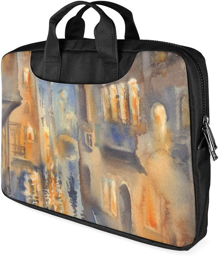 13 Inch Venetian View Oil Painting Seaside Boat Mens Laptop Bag with Handle Lightweight Girl Laptop Case Fits MacBook Air Pro