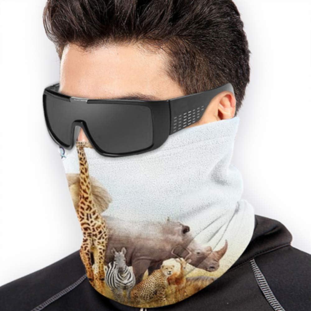 Neck Gaiter Neck Cap ,ski Mask Fleece Neck Warmer ,multifunctional Large Group African Safari Animals Composited Scarf,a Full Face Mask Or Hat Ha