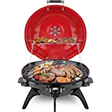 Electric BBQ Grill Techwood 15-Serving Indoor/Outdoor Electric Grill for Indoor & Outdoor Use, Double Layer Design, Portable