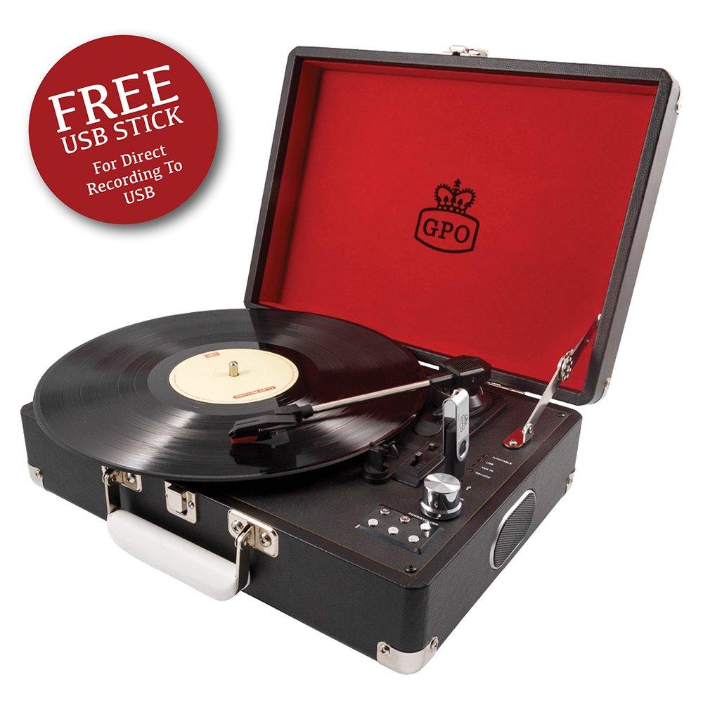 Amazon.com: GPO sw196bbla Attache Portable USB Tocadiscos ...