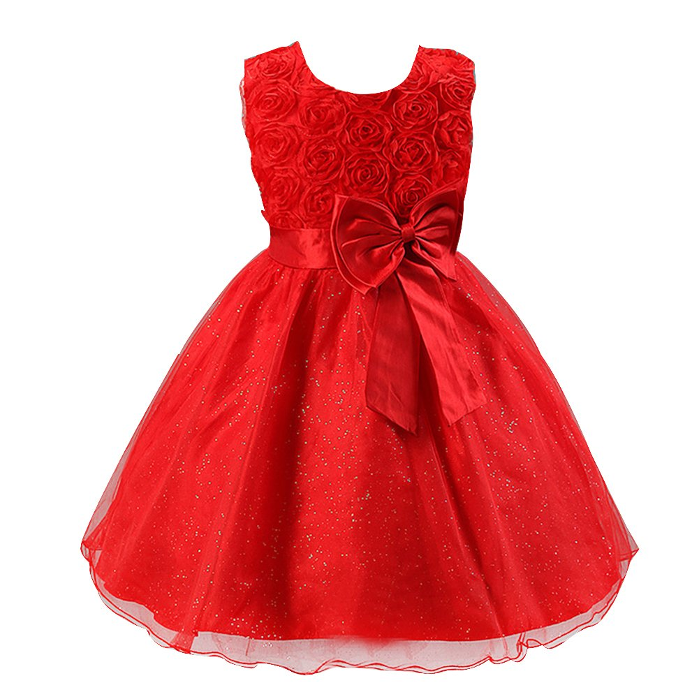 Amazon.com: Amurleopard Girls Princess Bridal Dress - Rose Flower Sleeveless Dress Wedding Party Uniform: Clothing