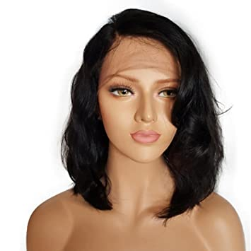 Huphoon Wigs For Women 14 Inch Long Black Lace Front Full Wig Natural Looking Wave Bob
