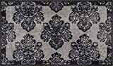 Non-Skid/Slip Rubber Back Antibacterial 3x5 (3'3'' x 4'7'') Door Mat Rug Athena Damask Grey Floral Vintage Trellis Modern Lattice Thin Low Pile Machine Washable Indoor Outdoor Kitchen Entry