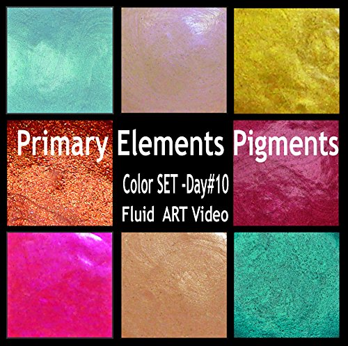 Primary Elements-Arte Pigment 8PC 30 ML Set Day-10 (Video) Fluid Art Plumeria-African Jade-Jasmine-Guatemalan Green- Solar Gold-Indian Copper- Red Pearl and Violet - Jasmine Violet