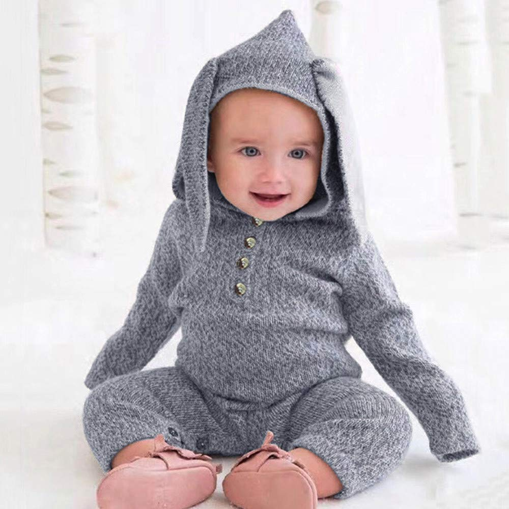 a90423d67c092 Amazon.com: Keliay Bargain Infant Toddler Baby Boy Girls Bunny Ears Hoodie  Romper Jumpsuit Clothes Cartoon: Clothing