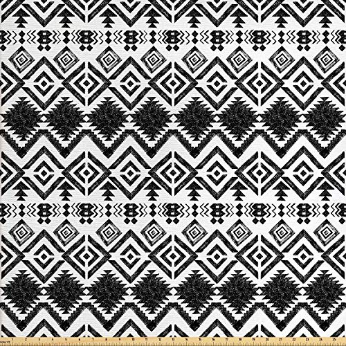 Ambesonne Modern Fabric by The Yard, Geometric Design with Modern Hippie Zig Zags Triangles Squares Print, Decorative Fabric for Upholstery and Home Accents, 3 Yards, White Black (Zag By Zig Fabric The Yard)