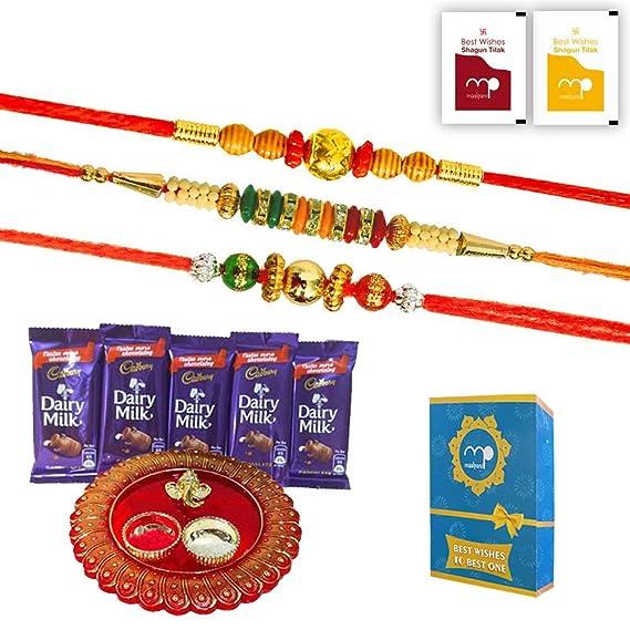 Maalpani Rakhi Gift Set Of 3 Bead And Diamond Rakhi Chocolates And Puja Thali And Fancy Box Chocolate Rakhi Hamper For Brother Amazon In Grocery Gourmet Foods