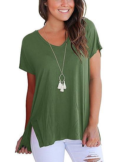 c27dacd0b SVALIY Womens V Neck Short Sleeve Loose Casual T Shirts Tops Tee Plain  Basics Slit AG
