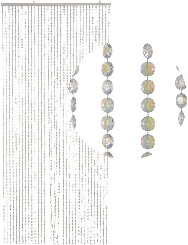 HAB & GUT -DV0315- Door Curtain DIAMONDS pearly-effect clear 90 x 200 cm / 35 x 78 transparent CLEAR - MOTHER-OF-PEARL