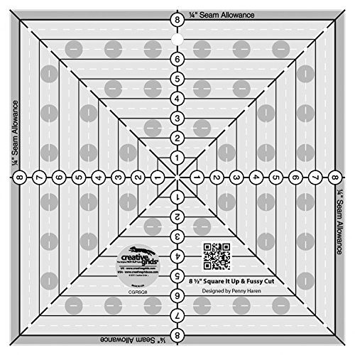 Creative Grids 8-1/2 inch Square It Up or Fussy Cut Square Quilt Ruler